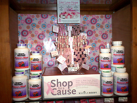 whole foods breast cancer product display